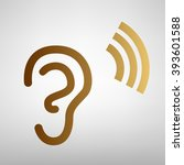 human ear sign. flat style icon   Shutterstock .eps vector #393601588