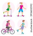young girls on the trip wheeled ... | Shutterstock .eps vector #393603592