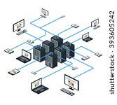data isometric set with data... | Shutterstock .eps vector #393605242