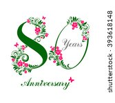 80 years anniversary. happy... | Shutterstock .eps vector #393618148