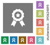 award flat icon set on color...