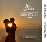 summer poster with a kissing... | Shutterstock .eps vector #393626152