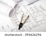 architecture plan and rolls of... | Shutterstock . vector #393626296