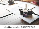 camera photographing traveling... | Shutterstock . vector #393629242