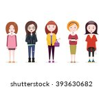 fashion girls. set of five... | Shutterstock .eps vector #393630682