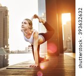 woman yoga practice pose... | Shutterstock . vector #393632632