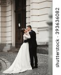 luxury married wedding couple ... | Shutterstock . vector #393636082