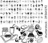 food set of black sketch. part... | Shutterstock .eps vector #39364192
