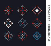 vector set of colored tribal... | Shutterstock .eps vector #393644236
