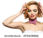 beautiful girl with colorful... | Shutterstock . vector #393648886