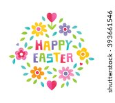 cute floral typographic card... | Shutterstock .eps vector #393661546