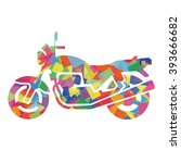 silhouette of motorcycle ... | Shutterstock .eps vector #393666682