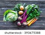 fresh organic produce. cabbage  ... | Shutterstock . vector #393675388