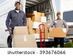 delivery man near shipping... | Shutterstock . vector #393676066