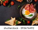 english breakfast   fried egg ... | Shutterstock . vector #393676492