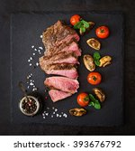 juicy steak medium rare beef... | Shutterstock . vector #393676792