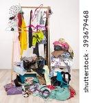 untidy cluttered woman wardrobe ... | Shutterstock . vector #393679468