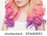 youth women with curly colored... | Shutterstock . vector #393683092