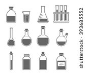 set chemical flask. erlenmeyer... | Shutterstock .eps vector #393685552