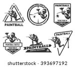 set of monochrome paintball... | Shutterstock .eps vector #393697192