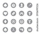 gray flat game icon set on...