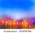 Abstract Tulip Flower Field...