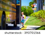 cute kid are getting on the bus ... | Shutterstock . vector #393701566