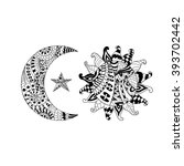 hand drawn sun  new moon and... | Shutterstock .eps vector #393702442