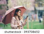 Young Woman With Umbrella At...