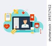 online medical consultation... | Shutterstock .eps vector #393717412