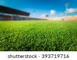 green grass in soccer stadium. | Shutterstock . vector #393719716