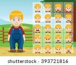 Farm Little Girl Cartoon...