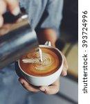 how to make coffee latte art in ... | Shutterstock . vector #393724996