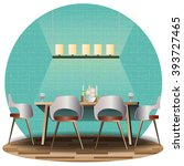 dining room elevation set with  ... | Shutterstock .eps vector #393727465