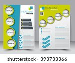 Abstract flyer design background. Brochure template. Can be used for magazine cover, business mockup, education, presentation, report. a4 size with editable elements. Green and blue color. | Shutterstock vector #393733366