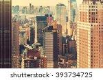 Midtown Manhattan New York skyline at sunset - stock photo