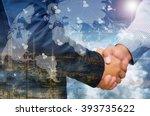 double exposure of businessman... | Shutterstock . vector #393735622