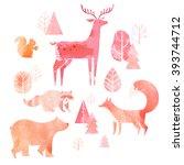 illustration of cute animals ... | Shutterstock . vector #393744712