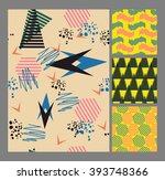 retro vintage 80 memphis style... | Shutterstock .eps vector #393748366