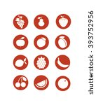 fruit icons  vector set of food ... | Shutterstock .eps vector #393752956