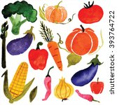 watercolor vegetables  raster | Shutterstock . vector #393764722