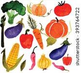 watercolor vegetables  raster | Shutterstock . vector #393764722