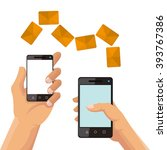 sms and smartphone design  | Shutterstock .eps vector #393767386
