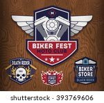 set of motorcycle labels ... | Shutterstock .eps vector #393769606