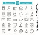set of 30 education line icons  ... | Shutterstock .eps vector #393769756