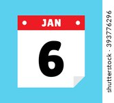 calendar icon flat january 6