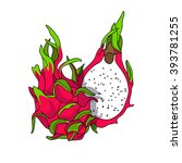 exotic and sweet dragon fruit.... | Shutterstock .eps vector #393781255