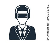 virtual reality icon  men in... | Shutterstock .eps vector #393781762