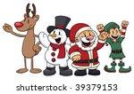 Four Cute Cartoon Christmas...