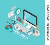 isometric analytics concept.... | Shutterstock .eps vector #393791986